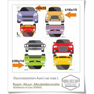 Walldecor Auto muur-, raamsticker set 8 auto's in de maat L