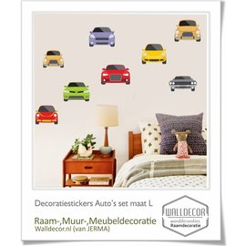 Walldecor Auto deco stickers 8 auto's in de maat L