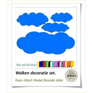 JERMA Wolken kinderkamer decoratie sticker raamplakkers babykamer idee