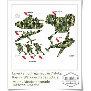 Walldecor Muurstickers soldaten, vliegtuigen en tanks decoratie stickers in camouflage print