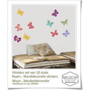Walldecor Vlinder decoratie muur meubel stickers set van 10 stuks.