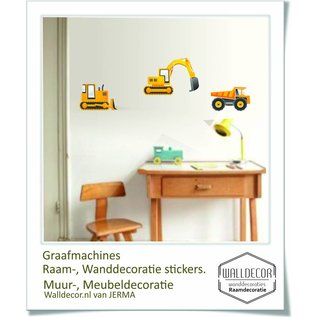 Walldecor Graafmachine stickers een bulldozer, kiepwagen en graafmachine.
