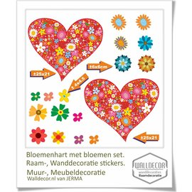 Walldecor Bloemenhart en bloemen set decoratie.