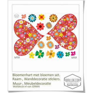 Walldecor Bloemenhartjes samen met bloemen set decoratie stickers