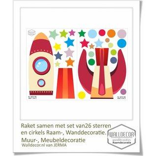 Walldecor Raket met sterren en cirkels decoratie set