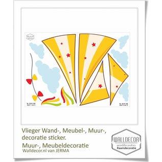 Walldecor Vlieger decoratiesticker met strikken en wolken