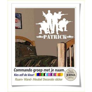 JERMA Soldaten Commando muursticker groep soldaten met naam meubelsticker kinderkamer idee.