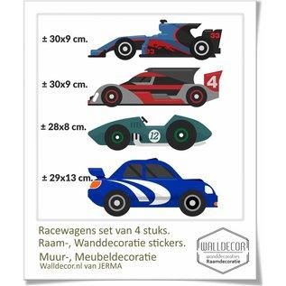 Walldecor Racewagen stickers  4 verschillende racewagens