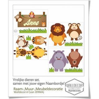 Walldecor Dieren set met naambordje decoratie stickers.