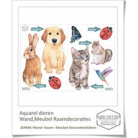 Walldecor Aquarel geschilderde dieren