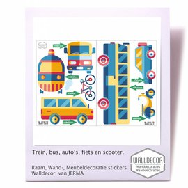 Walldecor Thema vervoer Bus, trein, auto decoratiestickers
