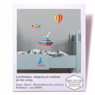 Walldecor Vliegtuig, Luchtballon, Zeilboot en het Schip decoratiestickers