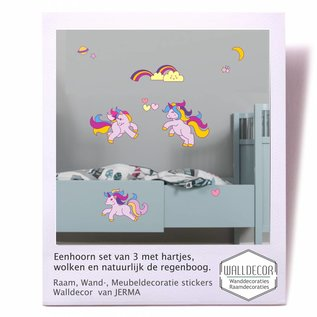 JERMA Eenhoorn set van 3 decoratiestickers