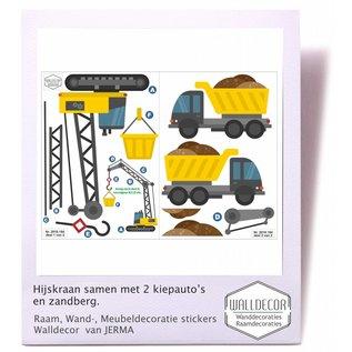 Walldecor Hijskraanstickers en 2 kiepwagens decoratie.