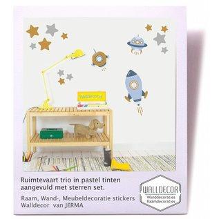 Walldecor Ruimtevaart trio met sterren decoratie stickers