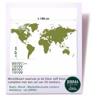 JERMA Wereldkaart  muurdecoratie sticker