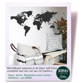 JERMA Wereldkaart muursticker