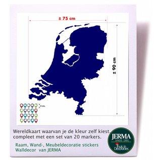 JERMA Muursticker kaart van Nederland met markers