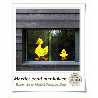 JERMA boerderij eend met kuiken muurdecoratie, raamdecoratie sticker babykamer kinderkamer idee