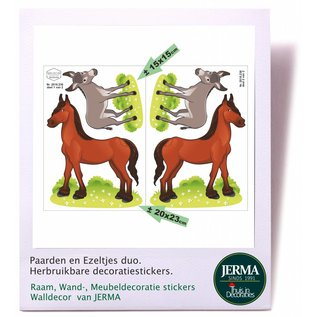 Walldecor Paarden en ezeltjes herbruikbare decoratie.