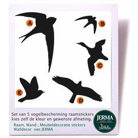 JERMA Vogelbescherming  raamstickers set van 5 vogels