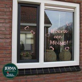 JERMA Geboorte sticker Hoera een meisje. (Rose)