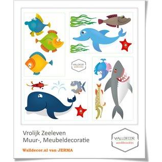 Walldecor Dolfijn en meer vrolijke vissen muurstickers
