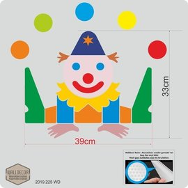 Walldecor Clown kinderkamer raam,- muursticker