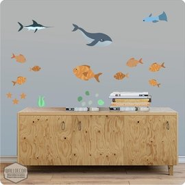 Walldecor Vissen decoratie stickers diep in de zee.