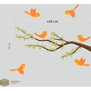 Walldecor Vogelbescherming stickers 6 vogeltjes op tak.