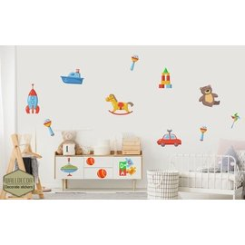 Walldecor Kinderkamer speelgoed set 14 decoratie sticker.