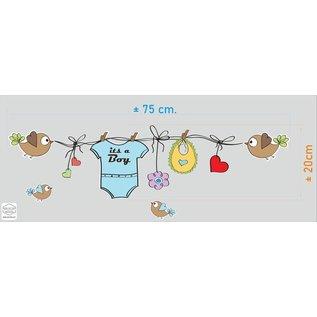 Walldecor Geboorte sticker waslijn met kleertjes it s a Boy
