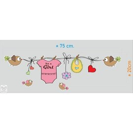 Walldecor Geboorte sticker waslijn met kleertjes its a Girl