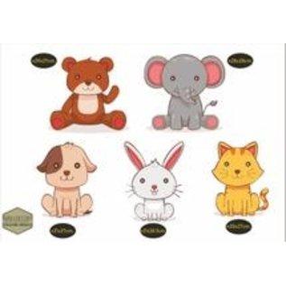 Walldecor Vrolijke dieren set met een konijntje, hondje, poesje, olifant en natuurlijk een knuffelbeertje.