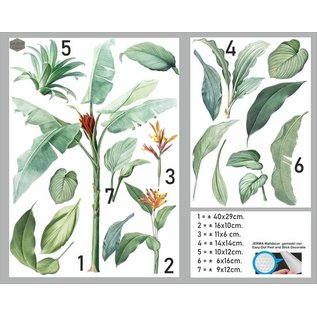 Walldecor Planten bladeren muur-, meubel-, raamsticker set van 18 planten stickers.