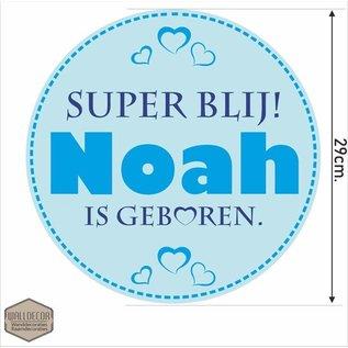 Walldecor Geboorte raamsticker Een 30 cm. grote cirkel met daarop de naam van de baby blauw.