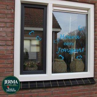 JERMA Geboorte sticker Hoera een jongen. Kleur wit of blauw