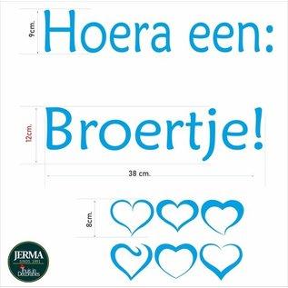 JERMA Geboorte sticker Hoera een broertje kobalt blauw of wit