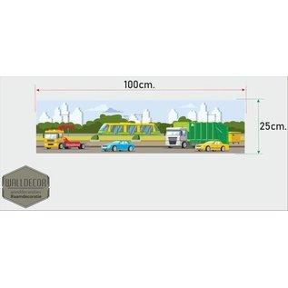 Walldecor Kinderkamer muursticker banner sleepdienst trein en auto's