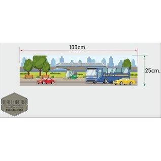 Walldecor Kinderkamer muursticker banner Stadsbus auto's en trein.