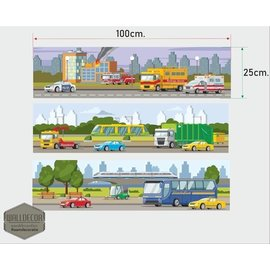 Walldecor Muursticker set van 3 st thema auto's en hulpdiensten.