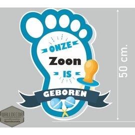 Walldecor Geboorte sticker hoera een zoon voet blauw