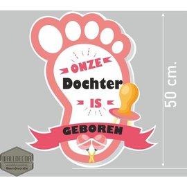 Walldecor Geboorte sticker hoera een dochter voet