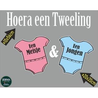 Walldecor Geboorte raamsticker Hoera een tweeling een meisje en een jongen.