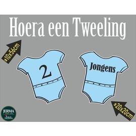 Walldecor Geboorte raamsticker Hoera een tweeling jongens