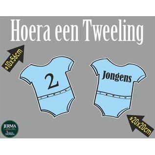 Walldecor Geboorte raamsticker Hoera een tweeling 2 jongens