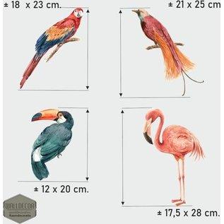 Walldecor Vogelbescherming raamstickers Set van 4 tropische vogels in pastel tinten