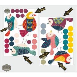 Walldecor Raamstickers set  6 vogeltjes  met 31 stippen.