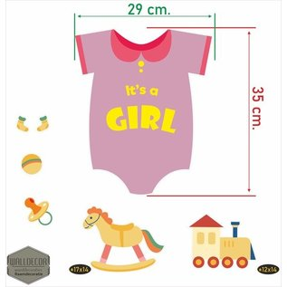 Walldecor Geboorte raamstickers Its a Girl.
