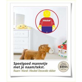 JERMA lego decoratie stickers Speelgoed mannetje met je naam raamsticker.
